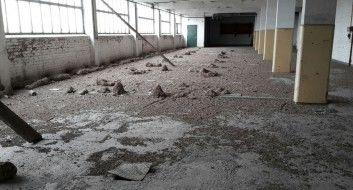 Industriegebäude vor der Taubenkotentfernung