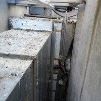 Taubenkotentfernung an auf Dächern verbauten Rauchgasdruckanlagen